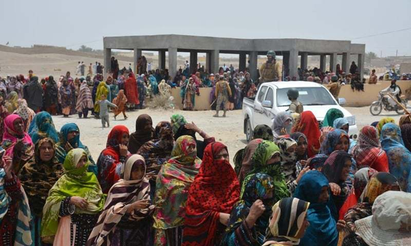 "WOMEN stand in a queue to cast their vote in Panjgur on Wednesday. National Party president Hasil Bizenjo shared this photo on Twitter and said: ""Our brave sisters from Panjgur have come out in great numbers to vote, despite repeated terrorist threats."""