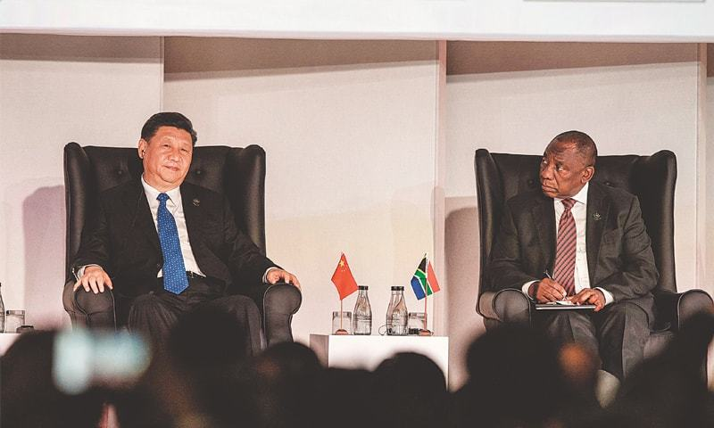 SOUTH African President Cyril Ramaphosa and Chinese President Xi Jinping at a Business Forum organised during the 10th BRICS summit on Wednesday in Johannesburg, South Africa.—AFP