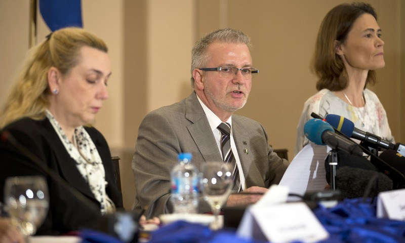 European Union's monitoring team chief Michael Gahler addresses a news conference in Islamabad. —AP