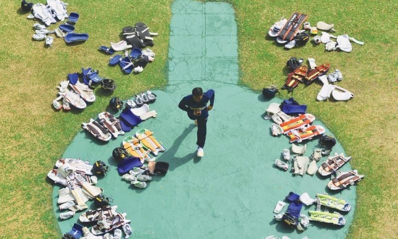 DAMBULLA: Sri Lankan batsman Kusal Mendis running past the players' equipment during a training session at the Rangiri Dambulla International Cricket Stadium on Saturday.—AFP