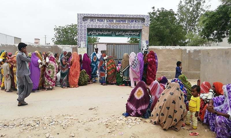 Thari women in line to enter polling station. —Photo provided by author