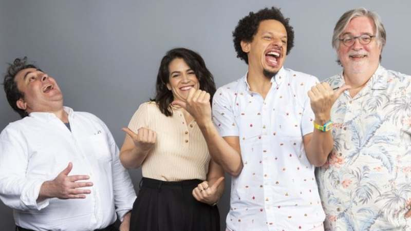 "Matt Groening, from left, Abbi Jacobson, Eric Andre and Josh Weinstein, cast members of the Netflix series ""Disenchantment,"" pose for a photo during the Netflix portrait session at Television Critics Association Summer Press Tour at The Beverly Hilton hotel on Sunday, July 29, 2018, in Beverly Hills, Calif. (Photo AP)"
