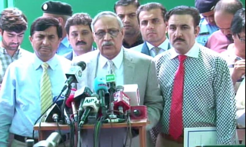 ECP Secretary Babar Yaqoob speaks to the media. — DawnNewsTV