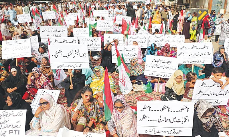 MQM-P supporters demonstrate outside the ECP office in Saddar on Thursday.—Online