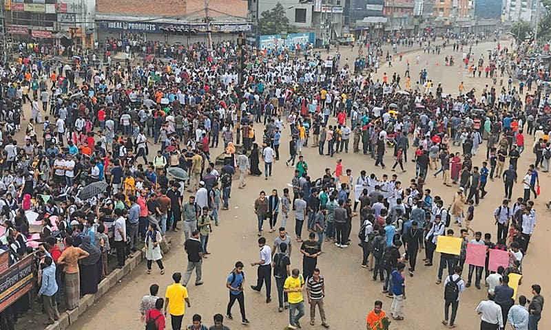 Protesters paralyse parts of Bangladesh after bus kills two students