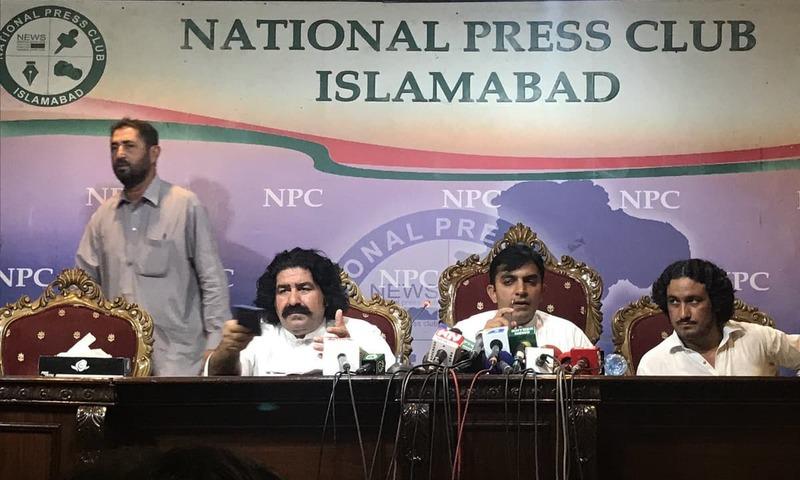 Ali Wazir and Mohsin Dawar at Islamabad Press Club. — Photo courtesy Nilofer Afridi Qazi Twitter