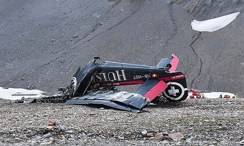 The wreckage of a Junkers JU52 aircraft in Flims, after it crashed into Piz Segnas, a 3,000-metre (10,000-foot) peak in eastern Switzerland on August 4. —AFP