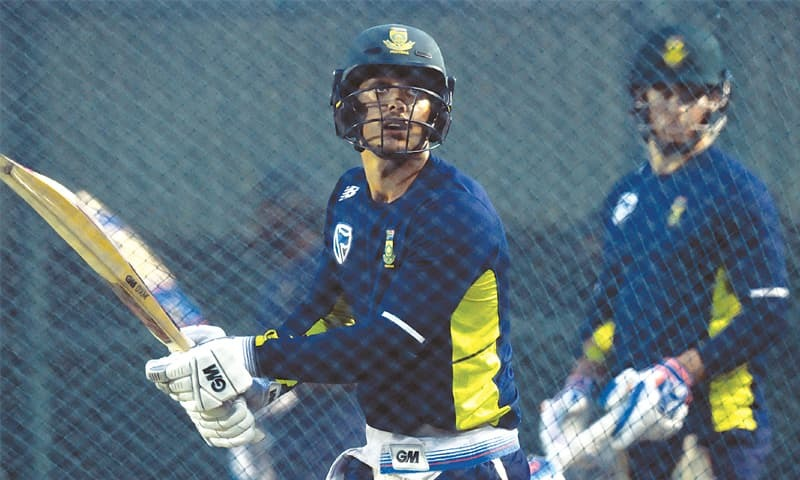 PALLEKELE: South Africa's stand-in captain Quinton de Kock bats during a net practice session at the Pallekele International Cricket Stadium on Tuesday.—AFP