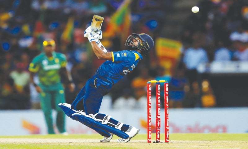 PALLEKELE: Sri Lankan opener Niroshan Dickwella plays a shot during the fourth One-day International against South Africa at the Pallekele International Cricket Stadium  on Wednesday.—AFP