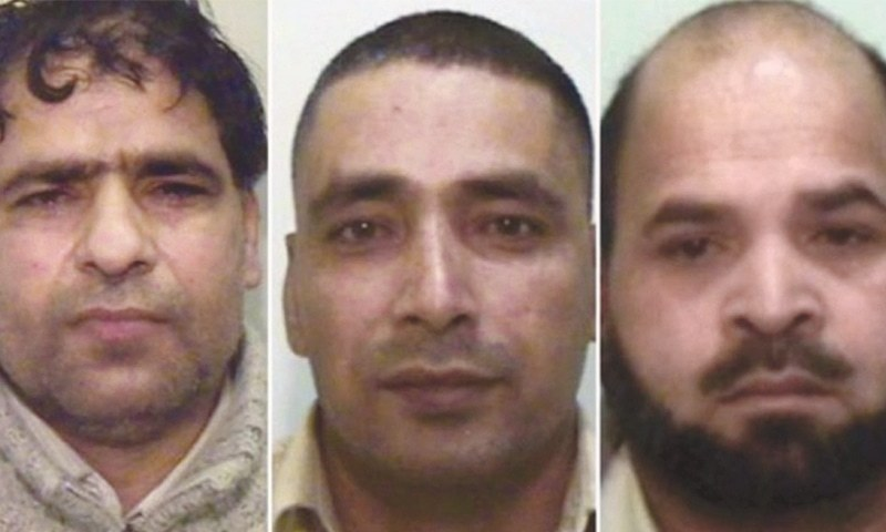 (Left to right) Abdul Aziz, Adil Khan and Qari Abdul Rauf.—Photo courtesy BBC/UK police