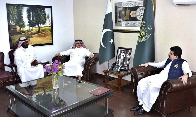 Senate Chairman Muhammad Sadiq Sanjrani exchanging views with Saudi Ambassador to Pakistan, Nawaf Bin Said Al-Malki at Parliament House. —APP