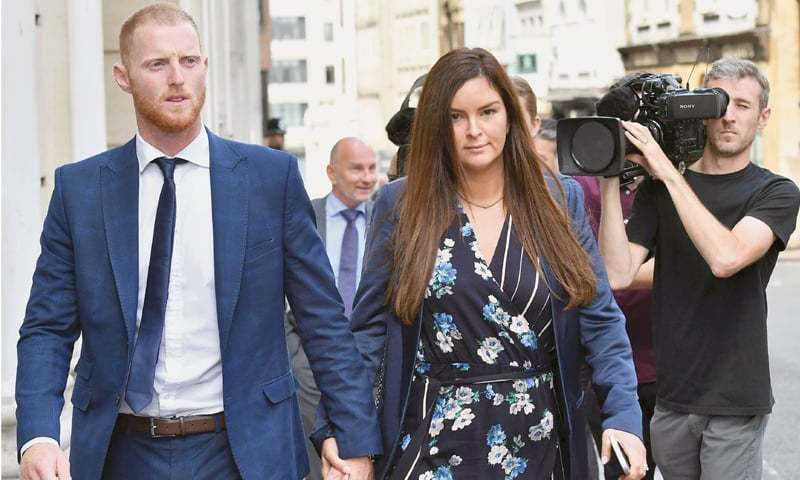 BRISTOL: England cricketer Ben Stokes and his wife Clare leave Bristol Crown Court on Friday during the lunch break as he attends a hearing in his trial on charges of affray.—AFP
