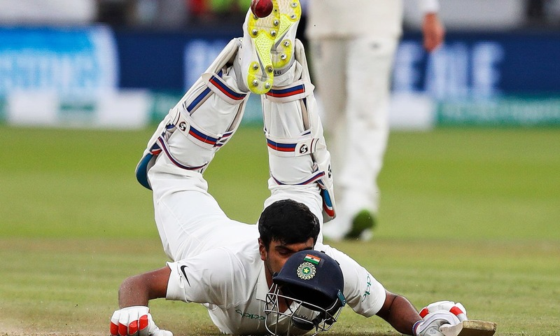 Ravichandran Ashwin dives back to his crease during  the fourth day of the second Test cricket match between England and India at Lord's Cricket Ground in London. —AFP