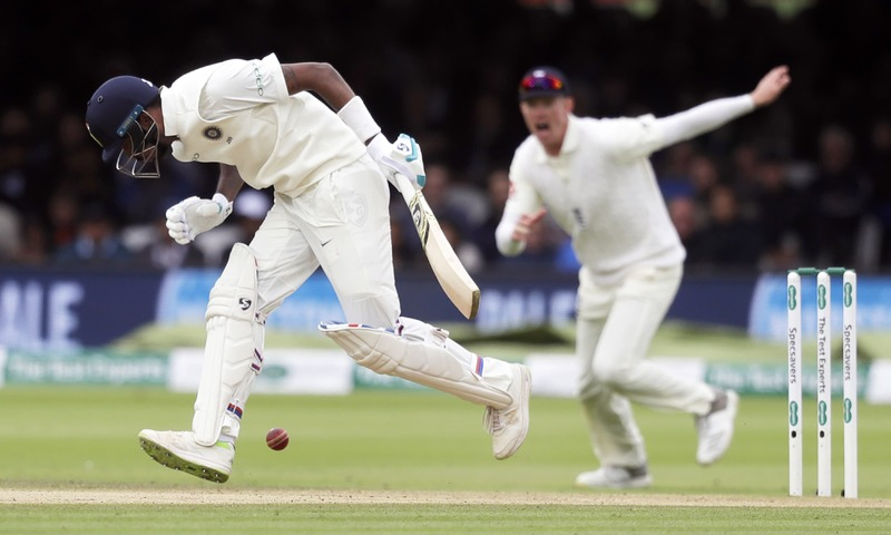 India's Hardik Pandya fails to play a shot off the bowling of England's Stuart Broad during the fourth day of the second test match. —AP