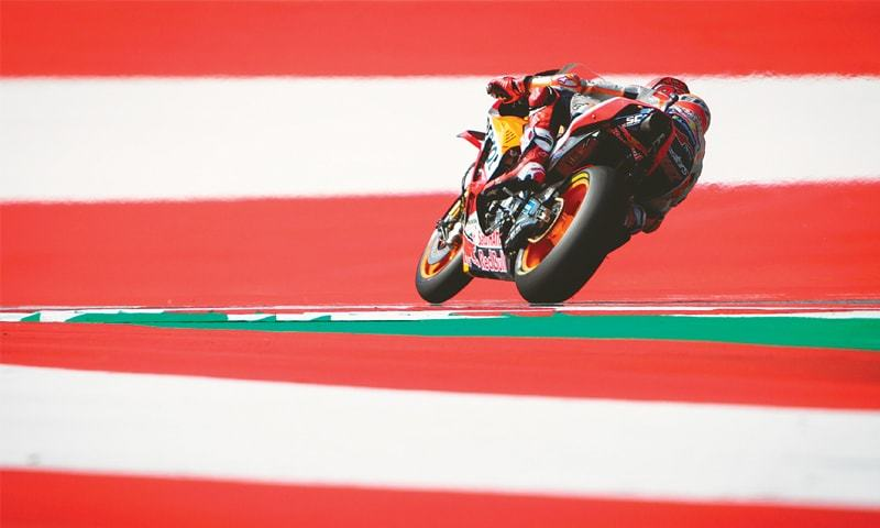 SPIELBERG: Repsol Honda's Marc Marquez competes during the Austrian MotoGP at the Red Bull Ring on Sunday.—AFP