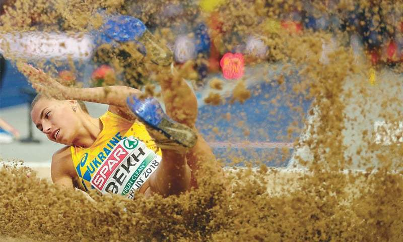 BERLIN: Maryna Bekh of Ukraine competes in the women's long jump final during the European Championships at the Olympic Stadium.—Reuters