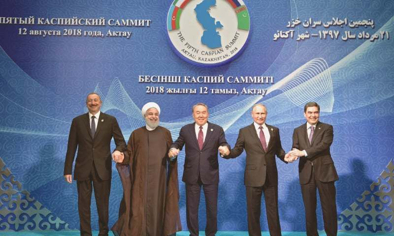 Aktau (Kazakhstan): Russian President Vladimir Putin (second from right), with his counterparts from the four other Caspian countries. Kazakhstan's Nursultan Nazarbayev is in the centre, Turkmenistan's Gurbanguly Berdimuhamedow is at Putin's right, Azerbaijan's Ilham Aliyev at extreme left and to his right is Iranian President Hassan Rouhani.—AP