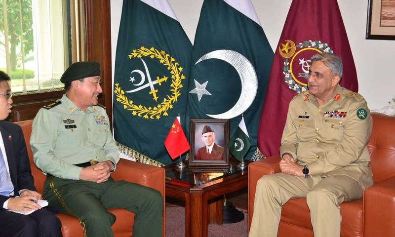 Commander Chinese People's Armed Police Force General Wang Ning with Chief of Army Staff General Qamar Javed Bajwa — Photo courtesy: ISPR