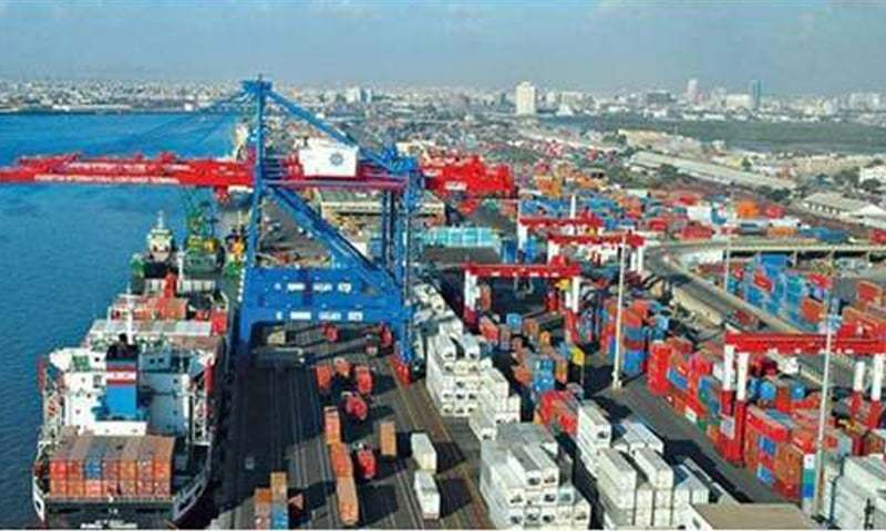Birds eye view of Karachi port. July data shows tepid growth of imports, exports and the  trade deficit.