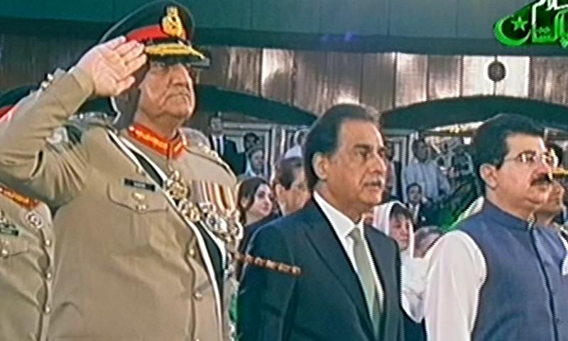 (L-R) Army chief Gen Qamar Javed Bajwa, NA speaker Ayaz Sadiq and Senate chairman Sadiq Sanjrani attend the independence day ceremony in Islamabad. — PTV screengrab