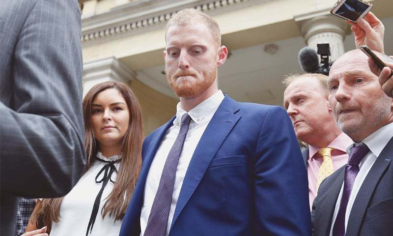 BRISTOL: England cricketer Ben Stokes and his wife Clare leave Bristol Crown Court on Tuesday.—AFP