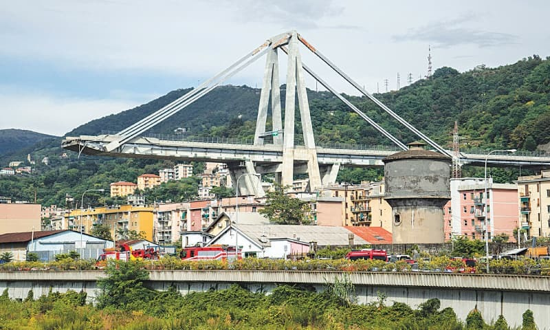 GENOA (Italy): The Morandi Bridge as seen after one of its sections collapsed on Tuesday.—AFP
