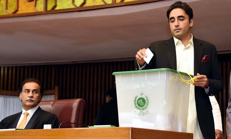 PPP Chairman Bilawal Bhutto-Zardari casts his vote for NA speaker. ─ NA Secretariat