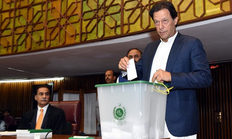 PTI Chairman Imran Khan casts his vote for NA speaker. ─ NA Secretariat