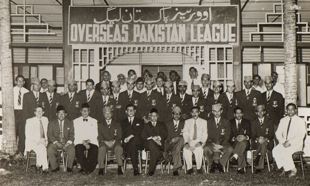The Overseas Pakistan League hosting members of the victorious Pakistan hockey team from the 1960 Rome Olympics. Seated fifth from the right is Ahmad Khan, head of the Special Branch in Singapore. Seated sixth from the left is Haji Mohammad Khan, President of the Singapore Pakistan League from 1954-1973.—Photo courtesy of Munir Shah