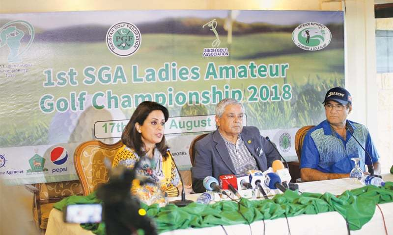 KARACHI: President of the Sindh Golf Association  Asad I.A. Khan addresses a press conference along with Humera Khalid, member PGF executive committee, and SGA secretary Col Zahid Iqbal to announce details of the first SGA Ladies Amateur Golf Championship  on Thursday.