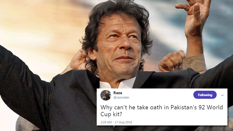 Imran Khan's oath-taking outfit is the only thing Twitter's talking about right now
