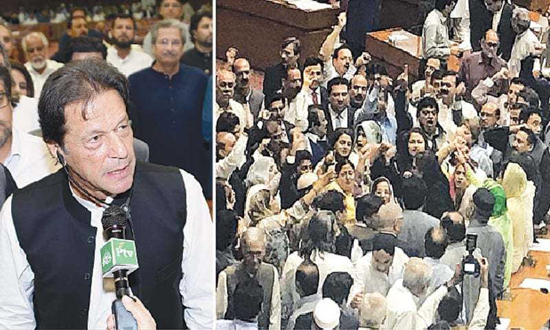 (Left) PTI chief Imran Khan delivers a speech after his election as prime minister in the National Assembly on Friday amid catcalls by opposition members and cheers from supporters. (Right) PML-N MNAs protesting against 'rigging' in the 2018 general elections.—White Star / DawnNewsTV