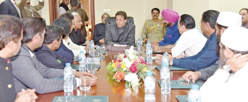 Prime Minister Imran Khan meets a delegation comprising team members from the 1992 Cricket World Cup and former Indian cricketer-turned politician Navjot Singh Sidhu at the Prime Minister's Office on Saturday. — White Star