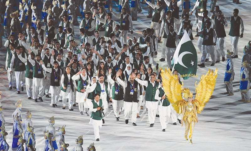 Jakarta: Members of Pakistan contingent parade during the opening ceremony of the Asian Games at the Gelora Bung Karno Stadium on Saturday.—AFP