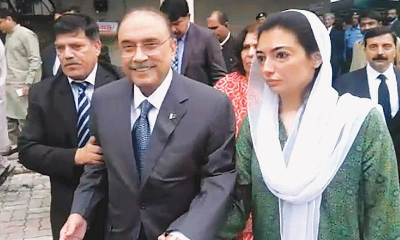 PPP co-chairperson Asif Ali Zardari leaves the Islamabad High Court after hearing on Saturday. His daughter Aseefa Bhutto-Zardari accompanies him.—White Star