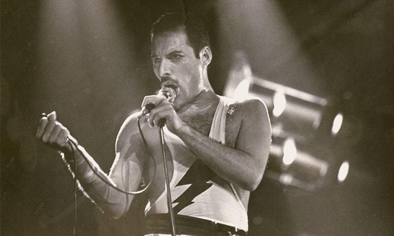 Freddie Mercury at a concert in Dortmund, Germany in 1984
