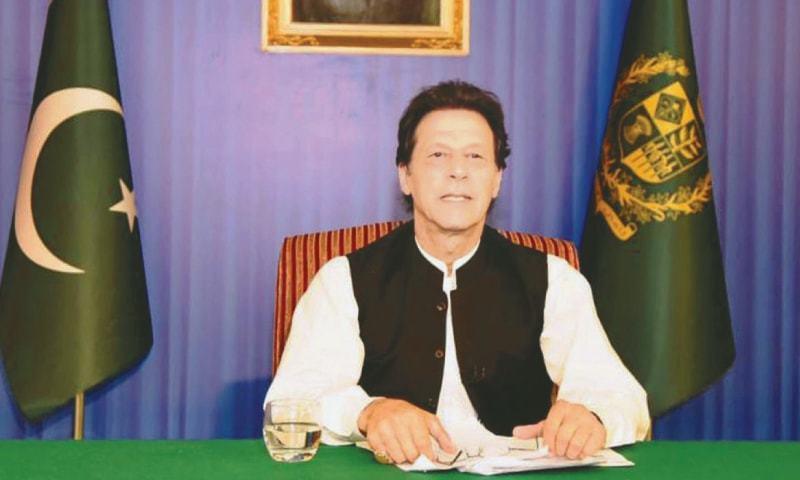 PRIME Minister Imran Khan addressing the nation on Sunday.—White Star