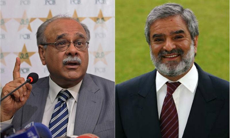 پاکستان کرکٹ بورڈ کے نئے چیئرمین احسان مانی اور سابق چیئرمین نجم سیٹھی۔