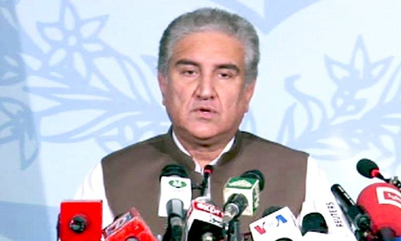 Foreign Minister Shah Mahmood Qureshi addresses press conference in Islamabad. ─ DawnNewsTV