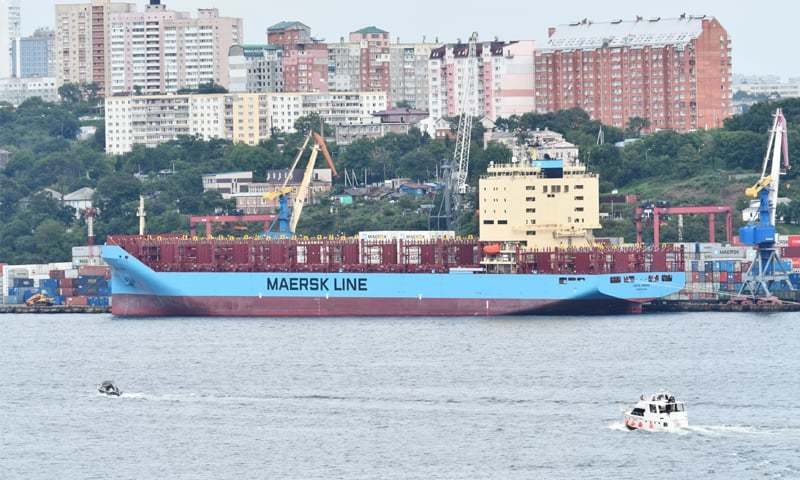 The Venta Maersk in the Russian port of Vladivostok as it prepares to set off on its Arctic voyage on Aug 22, 2018.—Reuters
