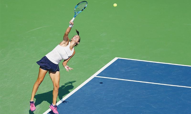 NEW HAVEN: Germany's Julia Goerges serves to Aryna Sabalenka of Belarus during their semi-final at the Connecticut Open.—AFP