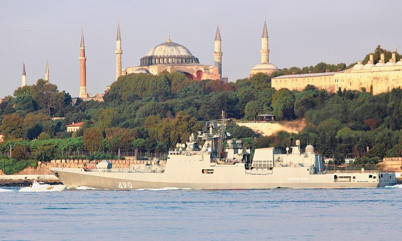 Istanbul: The Russian Navy's frigate Admiral Essen, with the Byzantine-era monument of Hagia Sophia in the background, sails in the Bosphorus, on its way to the Mediterranean Sea on Saturday.—Reuters
