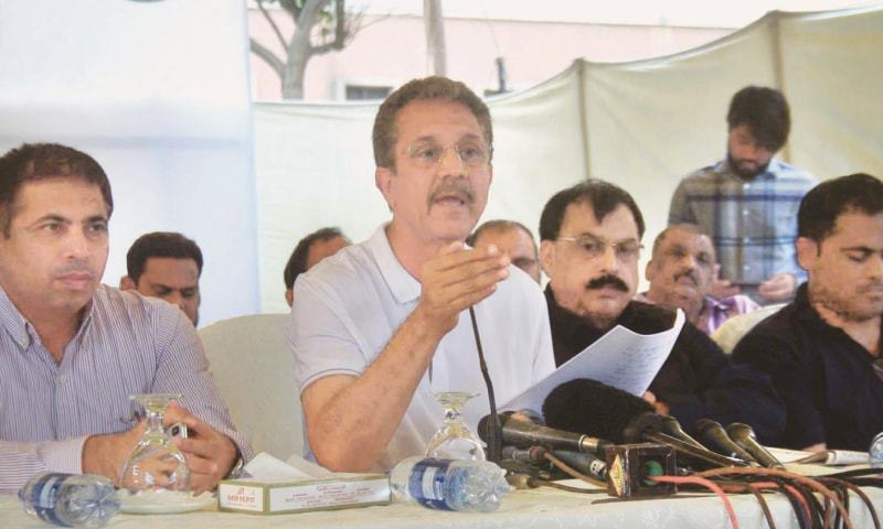 MAYOR Akhtar speaks at the press conference at KMC Building on Saturday.—Online
