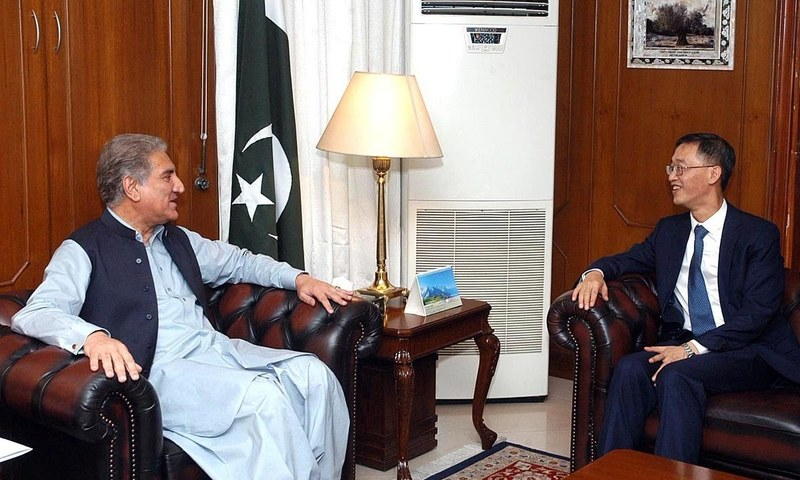 Foreign Minister Shah Mahmood Qureshi in a meeting with Chinese Ambassador Yao Jing at the Foreign Office. — APP