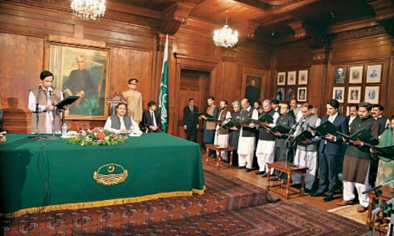 Acting governor Pervaiz Elahi administers oath to members of the Punjab cabinet at Governor House. — White Star