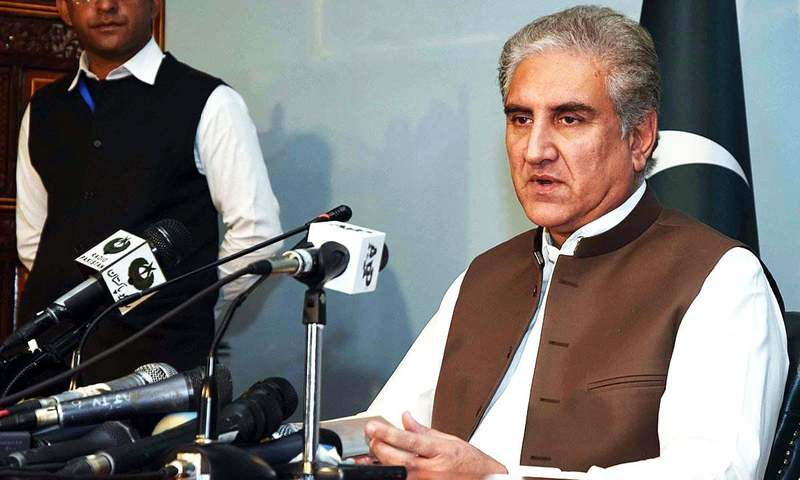 Foreign Minister Shah Mehmood Qureshi addresses a press conference at Foreign Office. —APP