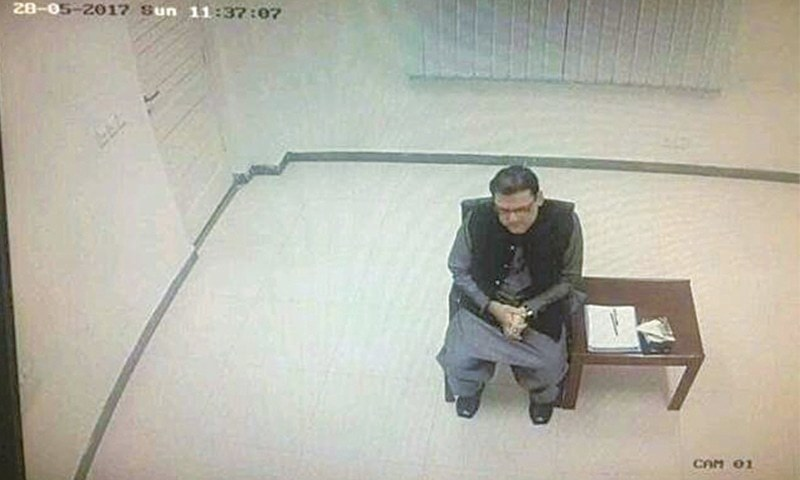 Leaked picture of Hussain Nawaz during a meeting with JIT. — File