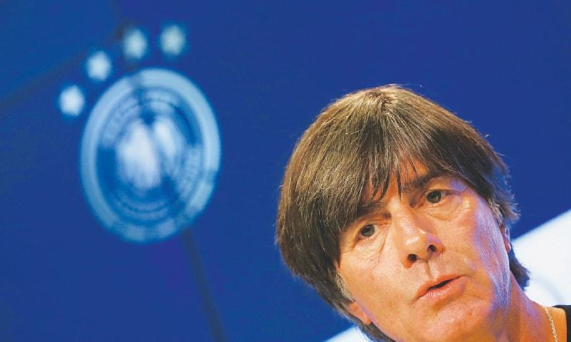 MUNICH: Germany coach Joachim Loew gestures during a press conference at the Allianz Arena on Wednesday.—Reuters