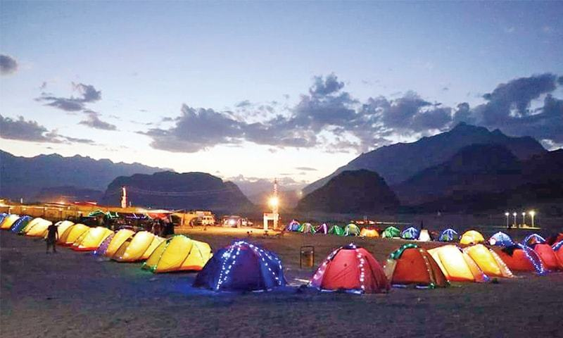 A Tent village has been established in Sarfa Ranga desert, Skardu, for visitors. — Dawn