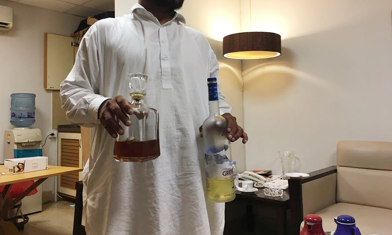 Bottles of liquor allegedly recovered from PPP leader Sharjeel Memon's hospital room. ─ DawnNewsTV